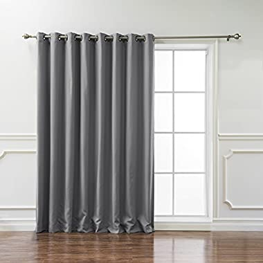 Best Home Fashion Wide Width Thermal Insulated Blackout Curtain - Antique Bronze Grommet Top - Grey - 100 W x 84 L - (1 Panel)