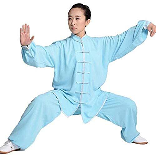 Frauen Tai Chi Kleidung Männer Kung Fu Kleidung Wushu Uniform Qi Gong Kampfkunst Anzug Flügel Chun Shaolin Kung Fu Taekwondo Trainingskleidung Unisex Professionell Und BequemBlue-Large