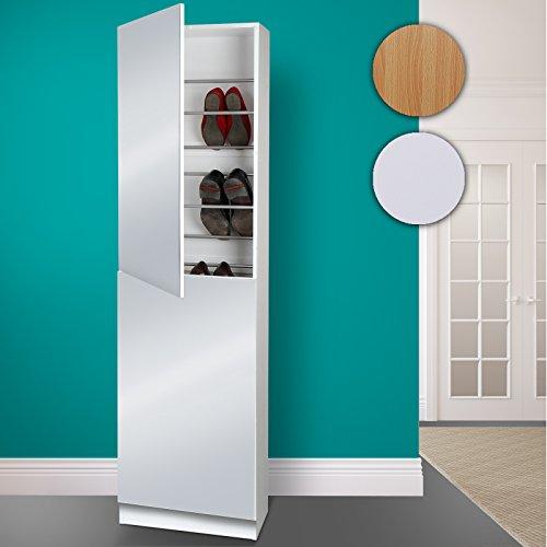 Miadomodo - Armoire à Chaussures avec Miroir pour 18 Paires 50 x 22 x 180 cm (Couleur au Choix)