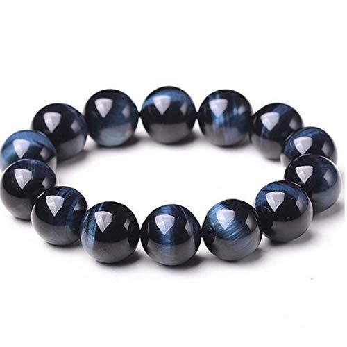 Hotaden1PC Abalorios Pulseras de Piedras Preciosas de 8 mm joyería de Piedra Natural de la Roca de Lava Pulsera Azul del Tigre Pulsera del Ojo de Boho para Hombres y Mujeres