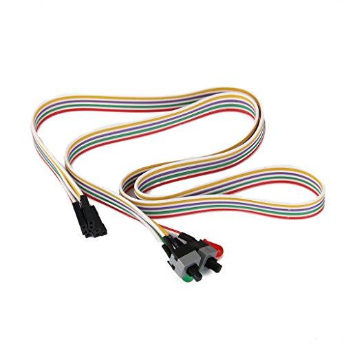 Câble d'alimentation ATX pour carte mère avec 2 interrupteurs marche/arrêt/redémarrage et 2 LED