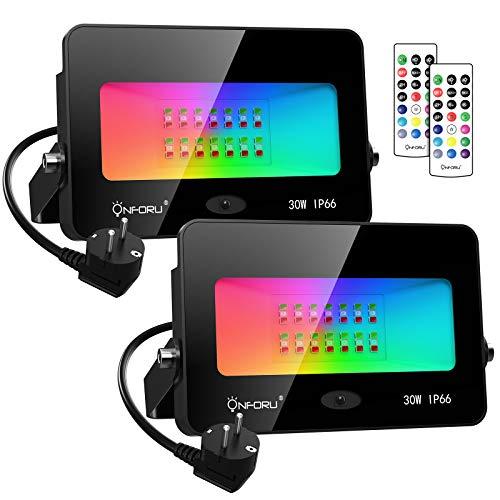 Onforu Lot de 2 Projecteurs LED RGB 30W, Dimmable Couleur Projecteurs avec Télécommande, IP66 Étanche RVB Spot Lampe, 11 Couleurs 2 Modes, Éxtérieur Spot Multicolore pour Jardin Soirée Paysage Cour