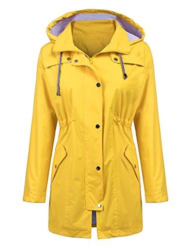 Women Sportswear Camping Light Rain Jacket Plus Size Rain Jacket with Hood Outdoor Hiking Long Rain Jacket Windbreaker Raincoat Yellow L