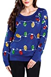 Tipsy Elves Sequined Ugly Christmas Sweater for Women Christmas Lights Cute Lady's Holiday Decorations Blue Pullover Size Small