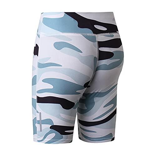 Huntrly Pantalones Cortos de Mujer Moda Personalidad Estampado de Camuflaje Fitness Pantalones Cortos de Yoga Deportes Correr Pantalones de Cinco Puntos Ajustados de Secado rápido XL