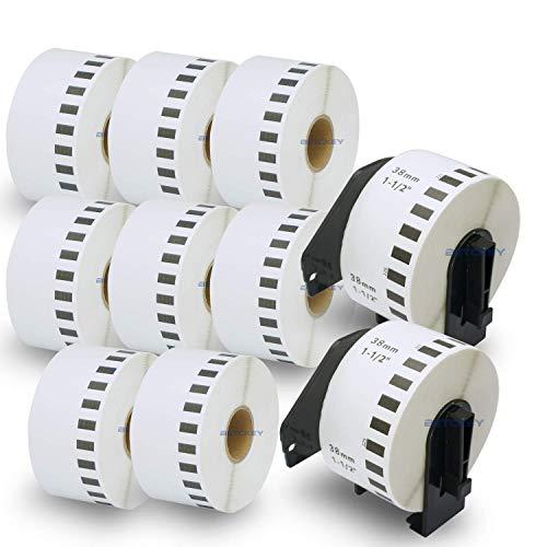 10ロール ブラザー ラベル 38mmx30.48m Brother 長尺紙テープ DK-2225 感熱ラベルプリンター用 + 2個 セット 専用互換カセットフレーム(ロール交換可能タイプ)