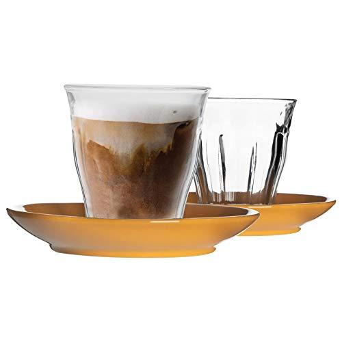 Duralex 12 Piezas de Cristal de Picardie Taza y platillo de cerámica Set - Taza del Vaso de Estilo Moderno para Latte Cappuccino - Amarillo - 220ml