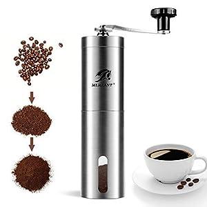 Molinillo de café manual MLMLANT, molinillo de café de acero inoxidable, fresa cónica de cerámica ajustable, molino de manivela de mano, perfecto para el hogar, oficina y viajes.
