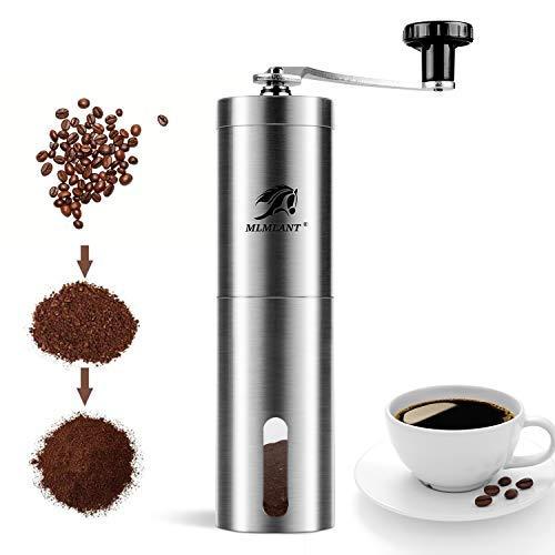MLMLANT handkurbel Manuelle Kaffeemühle hand, Rostfreie espresso mühle, verstellbar Keramik konische Grat,manual coffee grinder, perfekt für Zuhause, Büro und Reisen