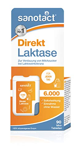 sanotact Laktase 6.000 FCC Mini-Tabletten - 90 Stk., Nahrungsergänzung mit Laktase, Verdauung von Milchzucker bei Laktoseintoleranz, praktischer Klickspender