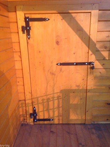 2 Winkelbänder mit Türriegel, Winkelband, Türband 600 x 340 x 50 mit Kloben 16 mm