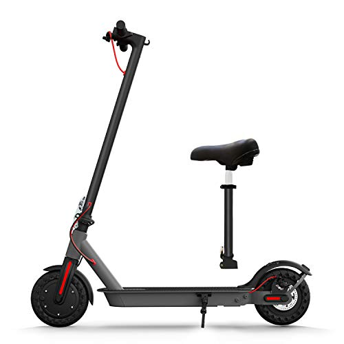 "Hiboy S2 Electric Scooter with Seat - 8.5"" Solid Tires - Up to 17 Miles & 18.6 MPH Folding Commuting Scooter for Adults with Double Braking System, Rear Suspension and App"