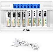 EBL LCD 8 Slots Chargeur de Piles Rapide- avec 4PCS AA 2300mAh et 4PCS AAA 1100mAh Piles Rechargeables NI-MH