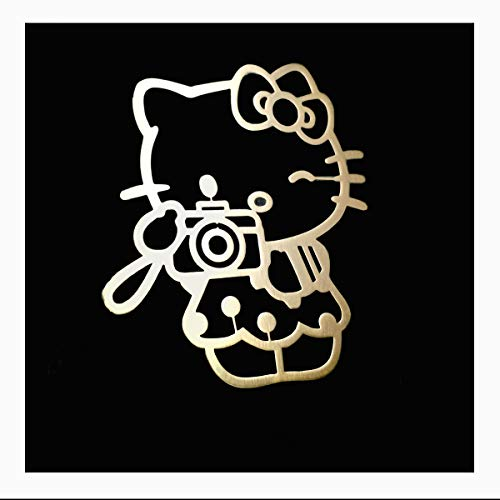 Wallner 18K Gold Plated 2 pcs Metal Adhesive Hello Kitty Badge Chrome Decal Logo Vinyl Sticker Cellphone Decal Stickers for Laptop Cellphone car IPAD or Others (Gold, A2)