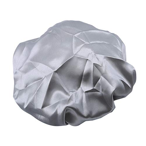 Bigsweety Capuchons De Douche en Satin Imperméables Bande De Bain Bonnet De Bain Cheveux Chapeau Cuisine Chapeaux pour Femmes Dames (Argent)