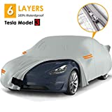 Big Ant Car Cover, 100% Waterproof Sedan Cover for Tesla Model 3, 6 Layers Durable Tesla Outdoor Cover All Weather Protection Car Covers with Ventilated Mesh & Door Zipper Fit for Tesla Model 3