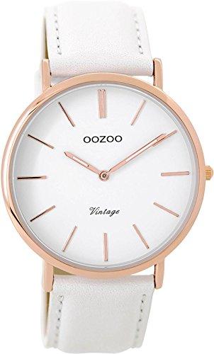 Oozoo Vintage Damenuhr Lederband 40 MM Rose/Weiss/Weiss C9315