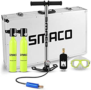 SMACO Mini Scuba Diving Tank Equipment, 2×0.5L Scuba Dive Cylinder with Scuba Tank Refill Adapter&Air Pump for Underwater Diving Breathe Training