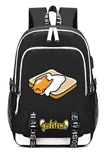 Gumstyle Gudetama Anime Multifunction Schoolbag Travel Bag Laptop Backpack with USB Charging Port and Headphone Jack 7