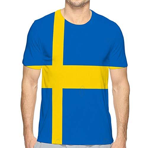vbndfghjd Camisetas de algodón para Hombre Camiseta Deportiva Amarilla con Bandera de Suecia para niños M