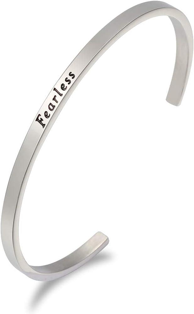 LADEMAYH Women's Inspirational Bracelets Stainless Steel Cuff En
