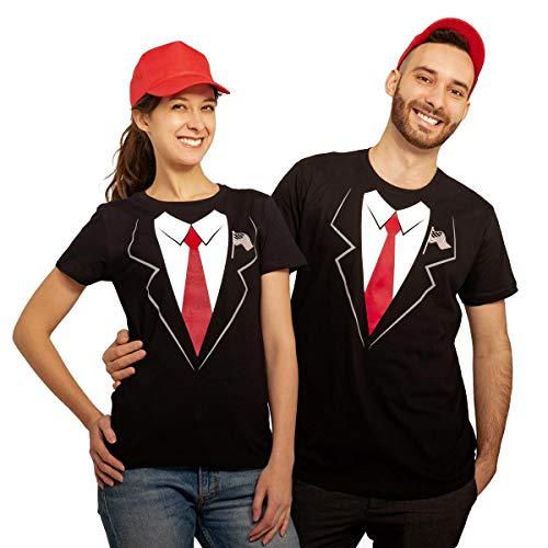 Karneval & Fasching Paar Kostüm Trump Anzug Verkleidung mit T-Shirts und Capis Mann Braun XX-Large/Frau Schwarz Large