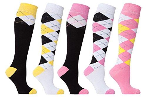 Socks n Socks  Women#039s 5pair Argyle Design Turkish Cotton Knee high Socks