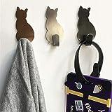 2 ganchos autoadhesivos con patrón de gato para baño, cocina, colgar en la pared, colgar en la puerta, toallero o colgar...