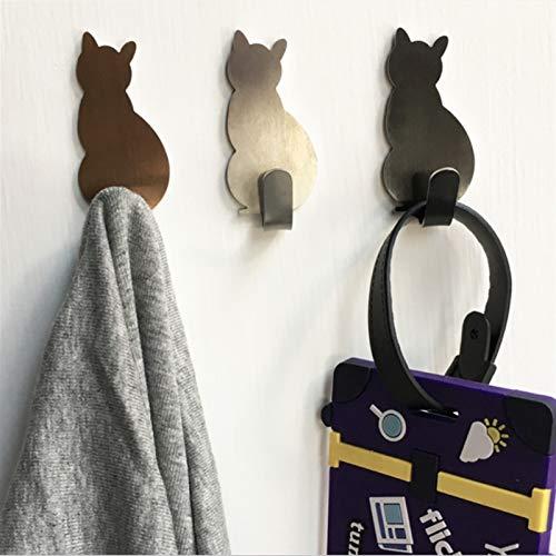 2 ganchos autoadhesivos con patrón de gato para baño, cocina, colgar en la pared, colgar en la puerta, toallero o colgar (color: plata)