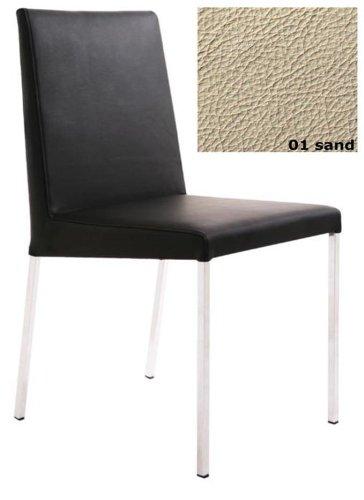 KFF Stuhl Spring Nova Gestell Mattchrom / Leder Sand 01