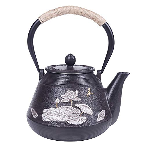 KDMB Teapot,Japanese-Style Cast Iron Teapot, with Heat Resistant Stainless Steel Infuser,for Loose Tea, 1200 Ml
