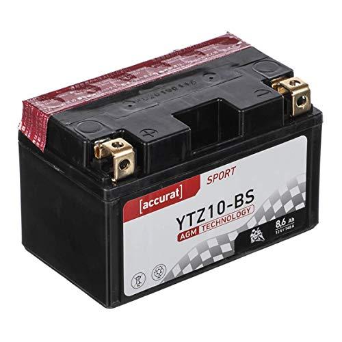 Accurat Motorradbatterie YTZ10-BS 8,6Ah 140A 12V AGM Starterbatterie in Erstausrüsterqualität rüttelfest leistungsstark inkl. Säurepack wartungsfrei