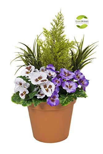 Greenbrokers Limited Künstlicher Terrassen-Übertopf, 60 cm, mit violett-weißen Stiefmütterchen und Konifer-/Zedernholzschnitt-Formschnitt, terrakottafarbener Topf