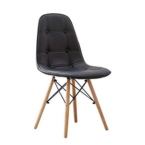 Slow Time Shop Accent Dining Chairs Moderner Kunstleder-Sitzstuhl Curved Curved Back Gepolsterte Holzbeine Bürostühle for Wohnzimmer Freizeitstühle for Schlafzimmer (Color : Black)