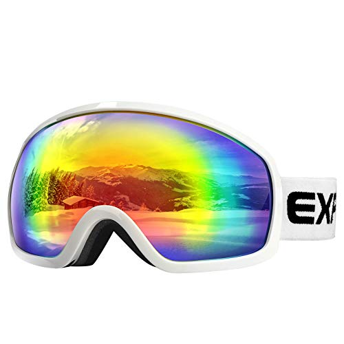 AKASO Ski Goggles, Snowboard Goggles - Anti-Fog, 100% UV Protection, Double-Layer Spherical Lenses, Helmet Compatible Snow Goggles for Youth