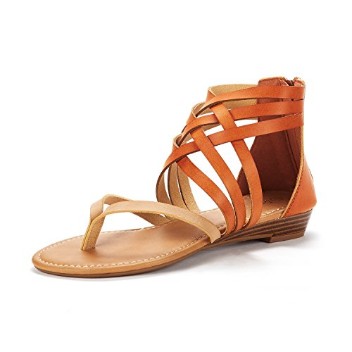 DREAM PAIRS Women's Juuly_02 Nude/Tan Fashion Gladiator Design Ankle...
