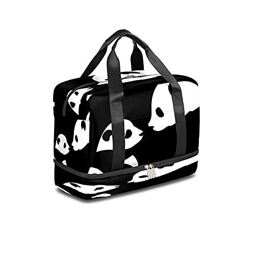 BOLOL - Borsone da viaggio con motivo panda animale, borsa da palestra, borsa da viaggio per uomini e donne