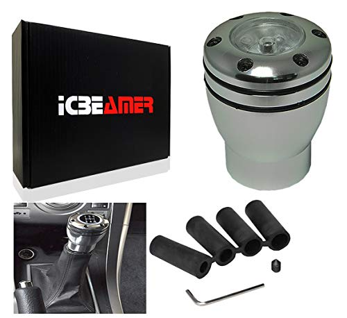 ICBEAMER Aluminum Racing Style Stick Gear Shifter Knobs with White LED Light, Manual Short Throw Shift Knob 5 6 Speed