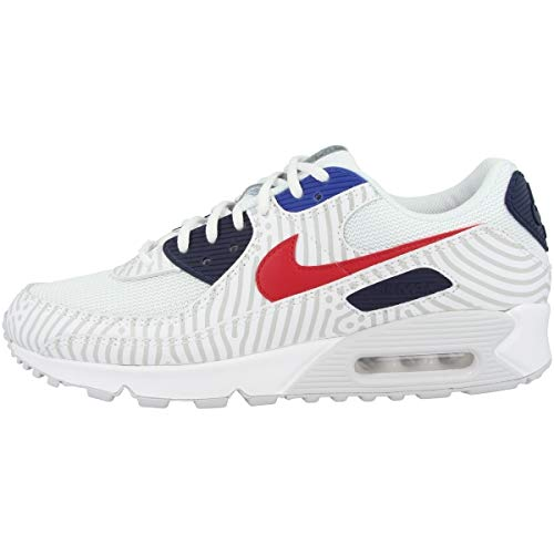 Nike Herren Air Max 90 Laufschuh, White/University Red-Midnight Navy, 40 EU
