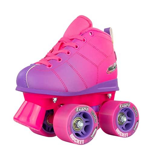 Crazy Skates Rocket Roller Skates for Girls and Boys - Great Beginner Kids Quad Skates - Pink / Purple (Size: US Mens 1   US Ladies 1   EU 32)