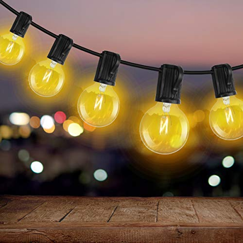 AFAITH Outdoor Christmas String Lights, 50ft G40 Waterproof Garden String Lights Festival Festoon Lights for Indoor/Outdoor Cafe Wedding Patio Christmas Party (50 Bulbs + 4 Spare Bulbs + 3 Fuse)