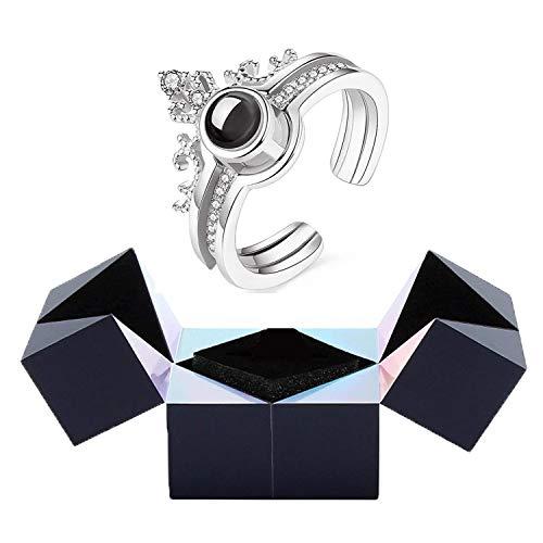 Anillo Creativo, Pulsera Y Joyero Con Rompecabezas, Caja De Almacenamiento Giratoria Magic Cube Con Anillo De ProyeccióN I Love You De 100 Idiomas (Anillo de plata)