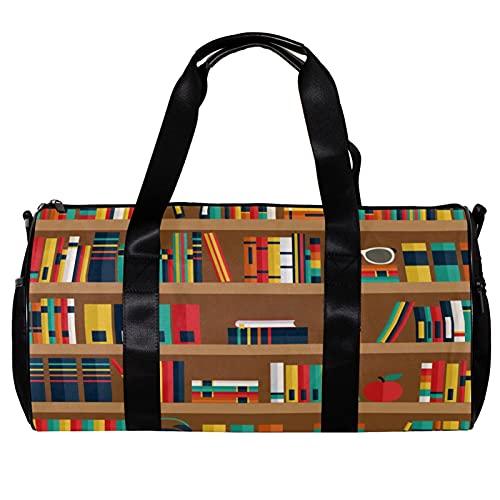 Borsone da palestra rotondo con tracolla staccabile ripiani con libri di formazione borsa per la notte per donne e uomini