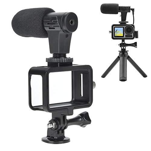 Trípode de marco protector de cámara de acción con micrófono para OSMO ACTION Protector de cámara de deportes Marco de montaje Carcasa Estuche y escritorio Trípode Selfie con micr Adaptador de audio