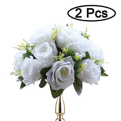 Sziqiqi 2-er Set Rosenbälle, Simulation Rosen, Blumenkugeln mit Sockel, Hochzeit Party Blumenständer Rosen, 2 Stück