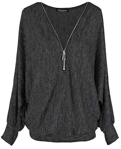 Emma & Giovanni - Pullover-T-Shirt Oversize - Damen (Schwarz, XL)
