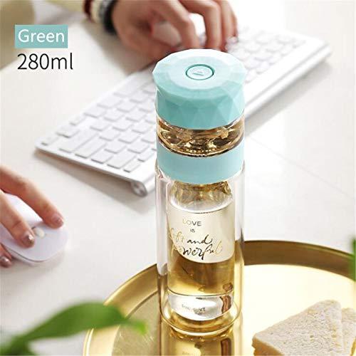 TuToy 280Ml Dubbele Muur Glas Creatieve Water Thee Scheiding Fles Cup Mok Staal Gratis Met Filter, Groen, 1