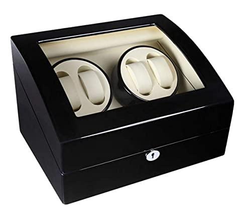 Remontoirs de montres, 4 + 6 Remontoirs automatiques, Apan MABUCHI Motor Watch Winder Montres rotatives en bois Boîte de rangement pour affichage (Peinture pour piano + Verre trempé), Noir + Blanc