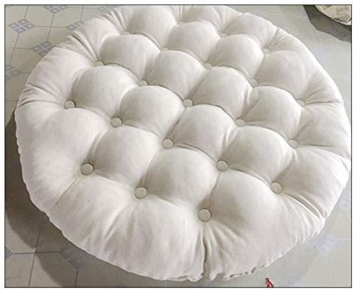 Round Linen Floor Pillow Extra Large Chair Cushion Not-slip Swing Chair Cushion Wicker Rattan Hanging Egg Chair Pad (Cushion Only)