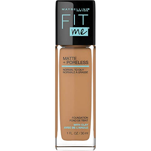 Maybelline Fit Me Matte + Poreless Liquid Foundation Makeup, Golden Caramel, 1 fl. oz. Oil-Free Foundation